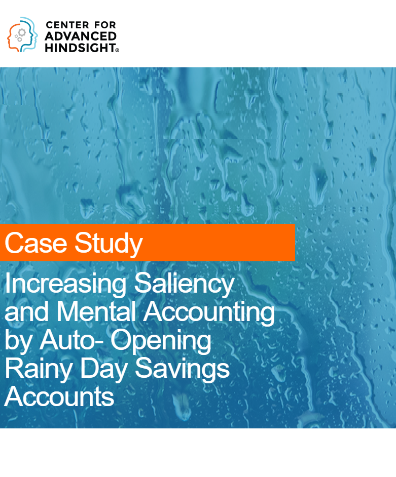 Increasing Saliency by Auto-opening Rainy Day  Accounts